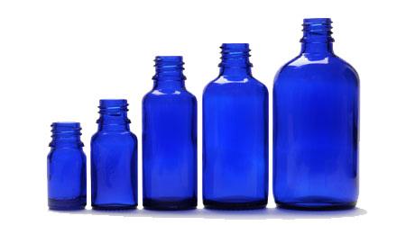 Blå pipettflaskor
