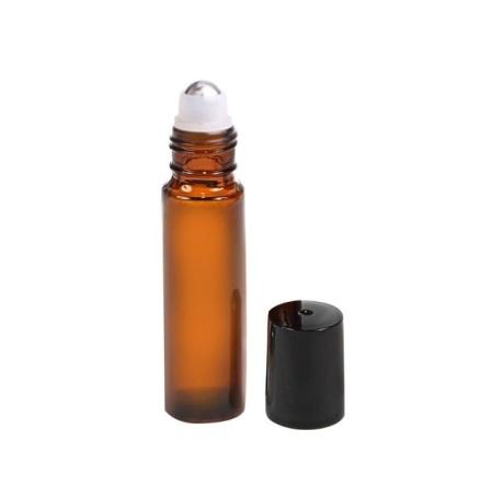 Glasflaska amber, med roller, svart - 10 ml