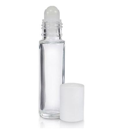 Glasflaska klar, med roller, vit - 10 ml