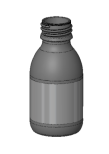 PET-flaska, rundad  - brun, 100 ml, 28 mm hals