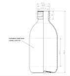 PET-flaska, rundad - brun, 250 ml, 28 mm hals